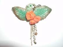 Orange, rose flower brooch