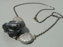 gunmetal chain rose necklace