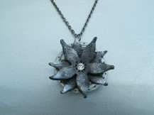 black and silver flower necklace
