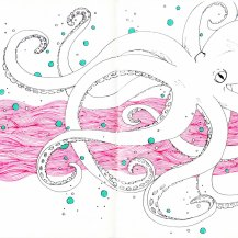 Octopus fine line drawing